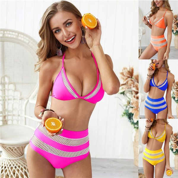 Hollow Out 2PCS Sets Womens Designer Bikinis Sexy Ladies Panelled Grenadine Bathing Suits High Waist Womens Swimsuits