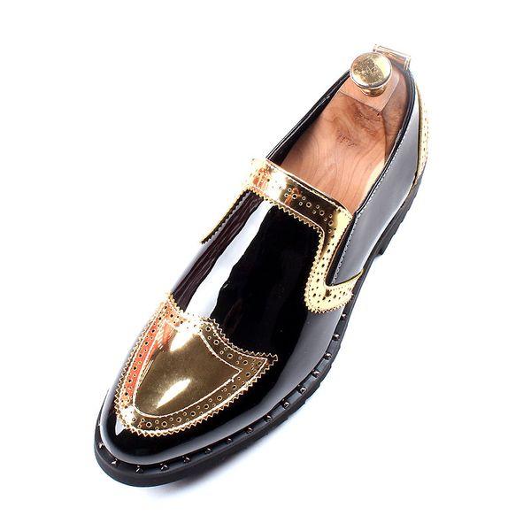 Designer Schwarz Gold Lackleder Hochzeit Formelle Schuhe Männer Arbeiten Kleid Schuhe Müßiggänger Bankett Party Büro Oxford Schuhe für Männer