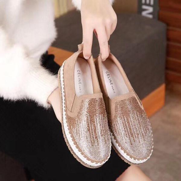 Üst düzey Deri Düz Tabanlı Casual Kadın Rhinestone Platformu Günlük Ayakkabılar Platform Tembel Ayakkabı Yeni Deri Of 2019 Lüks Sürüm