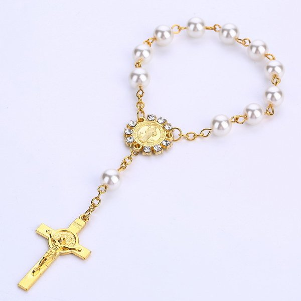 10pcs Imitation Pearl Beads Catholic Rosary Catholic Holy Communion Golden color Wings Crucifix Pendants Bracelet nice gift