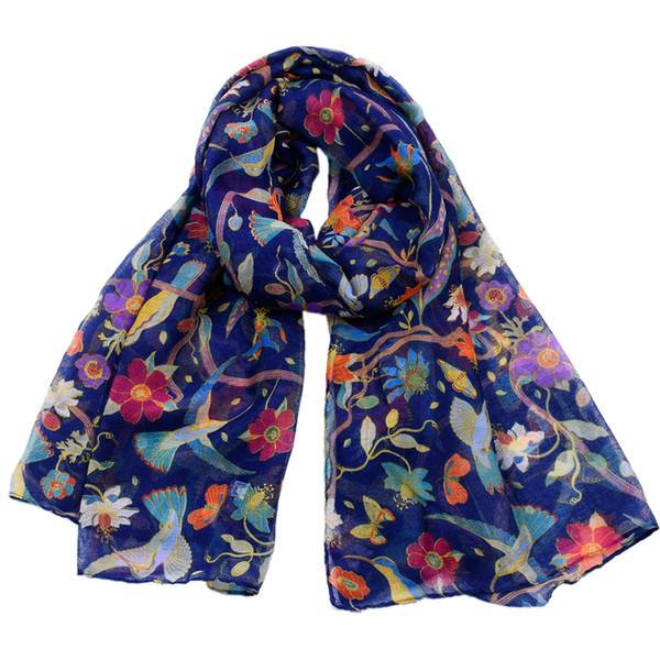 Ücretsiz kargo Zarif kuşlar kadınlar için baskı Eşarp hafif Hummingbird Çiçek Ipek Şal ve atkılar Bayanlar Yaz Wrap