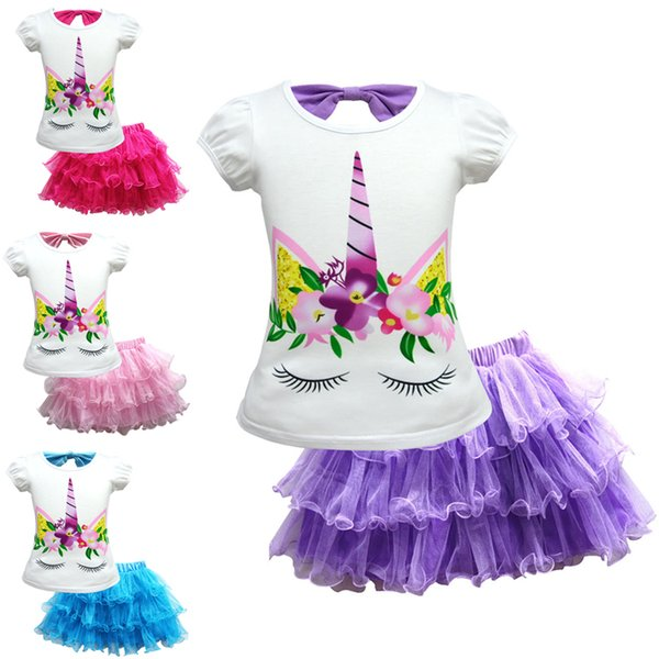 Unicorn Girls Clothing Sets 4 colors 3-10t baby girl clothes T-shirt + TUTU skirt 2 Pieces/set kids designer clothes DHL SS146