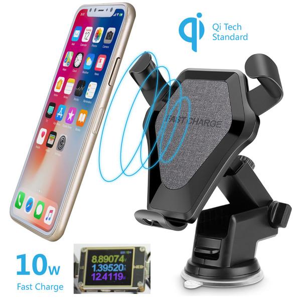 Qi carregador de carro sem fio montar 10 w rápido carga auto gravidade titular qc 9 v suporte de carga rápida para iphone 8 xs xs samsung huawei