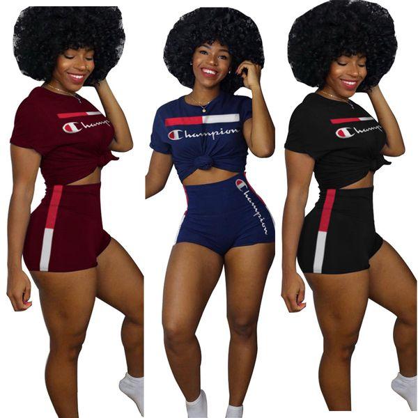 Şampiyonu Kadın Eşofman İki Adet Kıyafetler Baskı Kısa Kollu Mahsul En Sıcak Pantolon Set Kadın 2 Parça Spor Aktif Siyah Mavi Bordo Suits