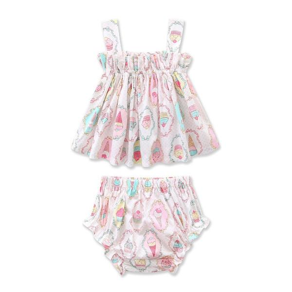 Sommer INS Kleinkind Baby Girsl Anzüge 2 stück Set Ärmellose Gürtel Tees Eis Druck Tops + Bloomers Süßigkeiten Kinder Mädchen Kleidung Anzüge 0-3 T