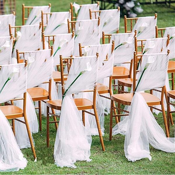 Romantic Wedding Chair Sashes Flowy Tulle Chiavari Chair Sashes Custom Made Blush White Ivory Wedding Party Event Decorations 150*200 cm