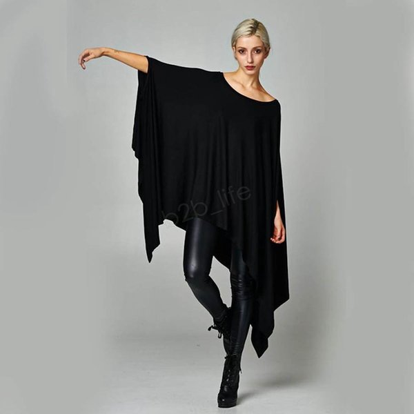 Camisas das mulheres vestido Sexy Oversized Túnica Assimétrica Poncho Cape Top Casual Para As Mulheres Batwing Manga irregular vestidos Soltos LJJA3031