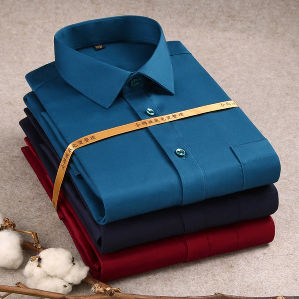 New 2019  100% Cotton Formal Long Sleeve Men's Dress Shirt Non-iron Business Office Work Wear Social Smart Casual Shirt