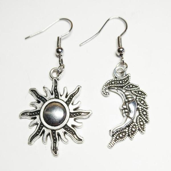 Joyería de aleación de moda Luna Sol Pendientes de gota Mujeres Unisex Regalos navideños Brujería Pendientes de joyería