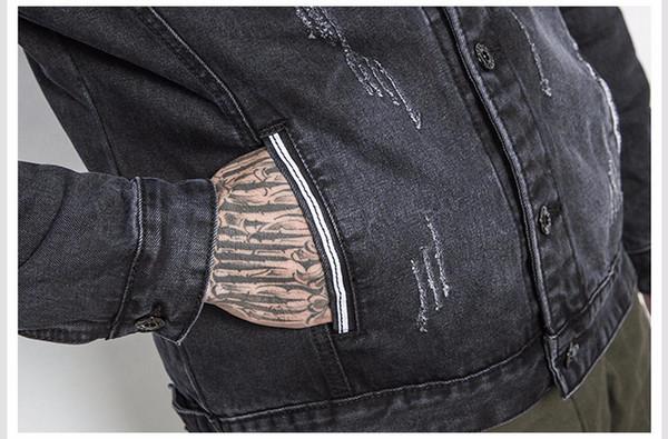Fashion-Korean Style Fashion Men Jean Jackets Hip Hop Solid Denim Clothes Broken Hole Vintage Streetwear College Slim Fit Male Jackets