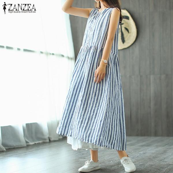 Zanzea Kadınlar Vintage V Boyun Kolsuz Casual Çizgili Tanklar Vestido Kadın Yaz Gevşek Çalışma Kaftan Sundress Elbise Artı Boyutu Y19051001