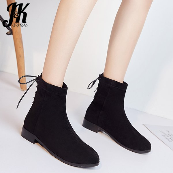 jk stretch flock ankle boots women sock booties ladies low heels shoes female cross tied round toe shoes female winter - from $31.92