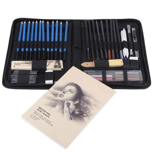 top popular 48PCS Professional Sketching Drawing Pencils Kit Carry Bag Art Painting Tool Set Student Black for Drawing Sketching and Writing T200107 2021