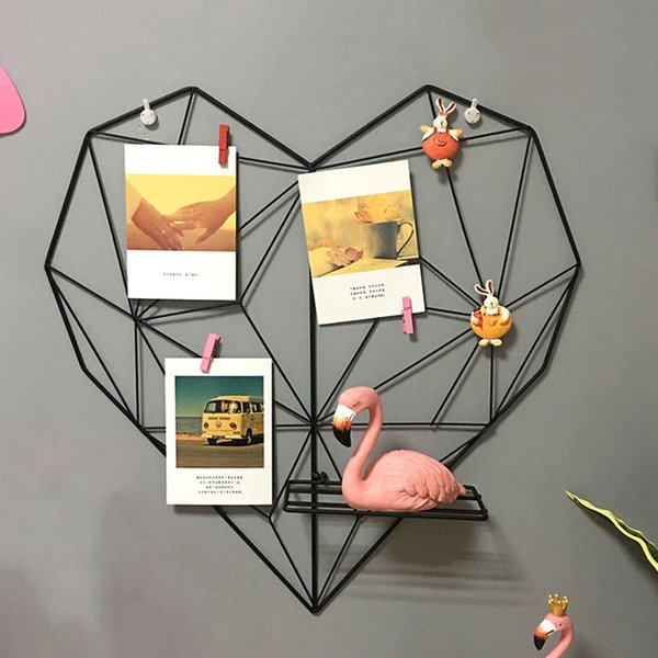 Creative Multifunctional Love Heart Shaped Iron Storage Rack Wall Hanging Photos Postcard Metal Grids Storage Holder Hogard