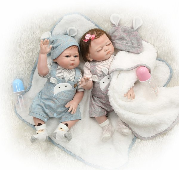 Bebe Reborn 49CM full body silicone reborn baby doll twins boy and girl bebes reborn hand paint red skin rooted hair waterproof bath toy