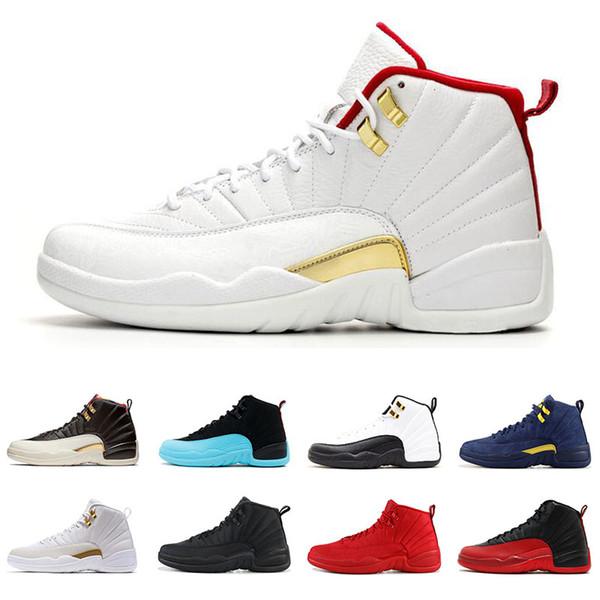 12 12s Chaussures de basket-ball pour les hommes Fiba Royal Game Triple Noir Gym Rouge Cny foncé Université Gris Bleu sport Hommes Chaussures Taille 8-13
