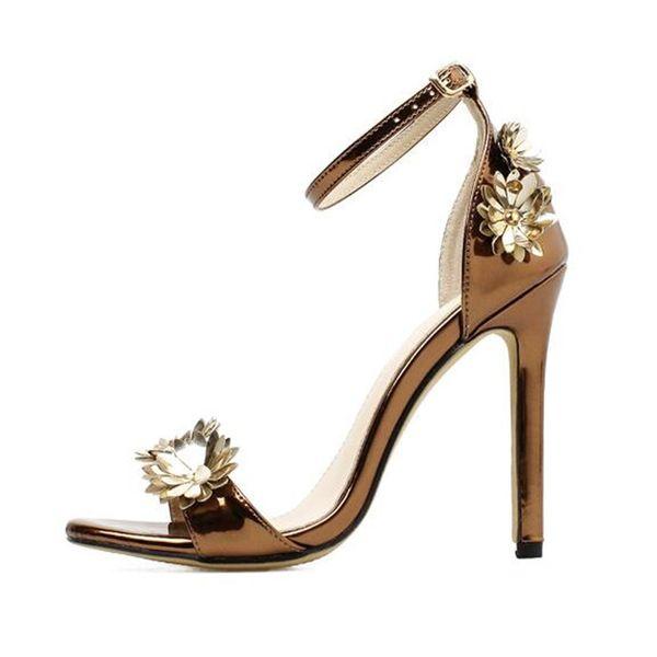 New Summer Sandals European and American Handmade Metal Texture Flower Decoration High Heel Shoes Gold Women Sandals