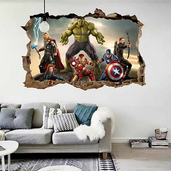cartoon movie Avengers wall stickers for kids rooms home decor 3d effect decorative wall decals diy mural art pvc posters art