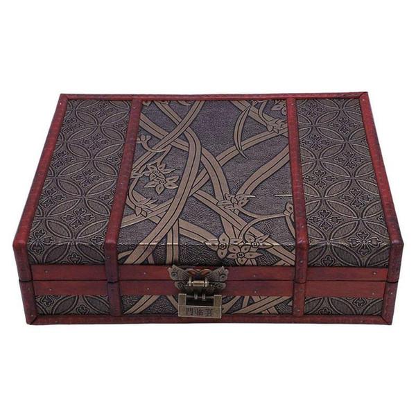 Metal Kilit Düğün Hediye Manuel Masaüstü Dekorasyon Packaging ile Ahşap Saklama Takı Kutusu Vintage Ahşap Kutu