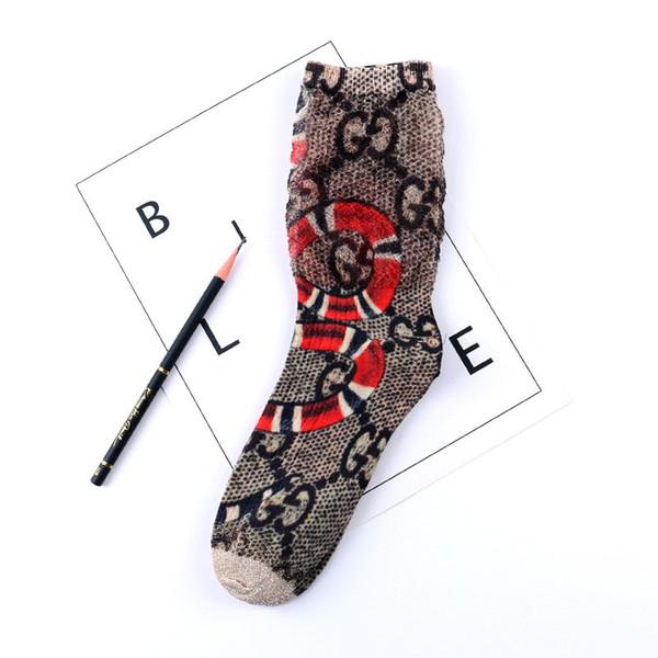 Fashion spring and summer socks 3D seersucker letters half net painted cartoon long pile of female socks