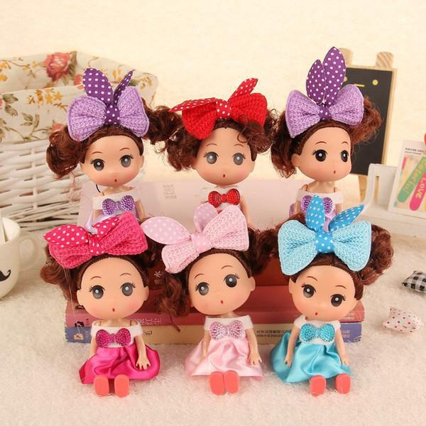 12cm Mini Ddung Ddgirl Dolls Rabbit Cat Ears Big Eyes Girl Doll Dress Skirt Dolls Holder Bag Car Styling Toy Keyholder