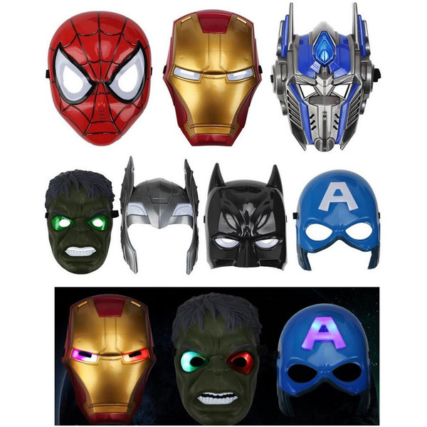 Светодиодные маски детская анимация мультфильм Человек-Паук свет Маска Маскарад анфас маски для Хэллоуина костюмы партии