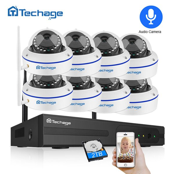 Techage 8CH 1080 Wireless Security Camera System 2.0MP NVR CCTV Indoor Dome WiFi IP Camera IR Night P2P Video Surveillance Set Techage