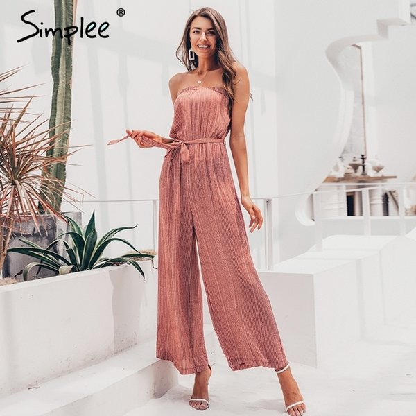 Simplee Schulterfrei Sexy Overall Frauen Elegante Schärpen Overall Lange Strampler Sommer Solide Leopardenmuster Overalls Overall 2019 Y19062201