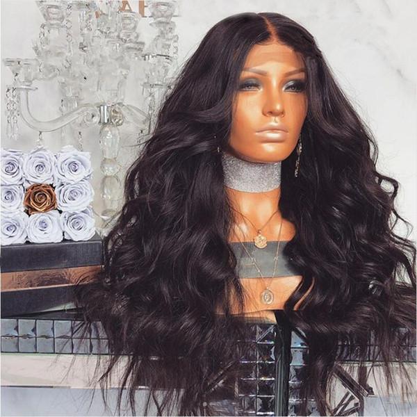 100% não processado virgem remy cabelo humano longo cor natural onda solta peruca cheia do laço para as mulheres