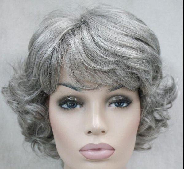 LL LIBRE SHIPGrayish-white Corto mujer anciana Damas Peluca sintética esponjosa diaria FYTLD175 Hivision