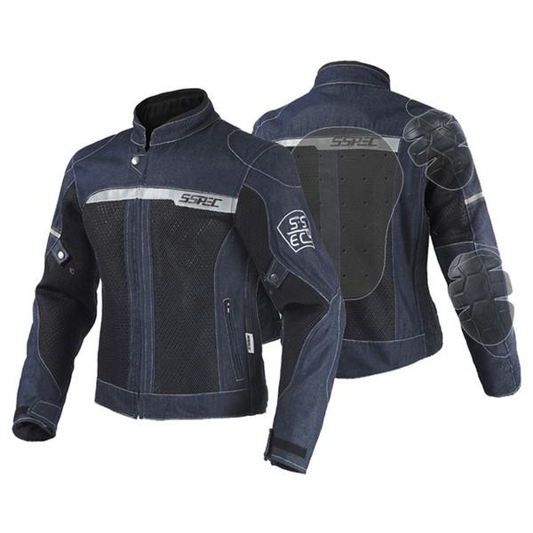 SSPEC Mens Moto Gear Suit Protection Riding Jackets Denim Motorcycle Jacket Reflective 5 pcs Protector Pads S~XXXL