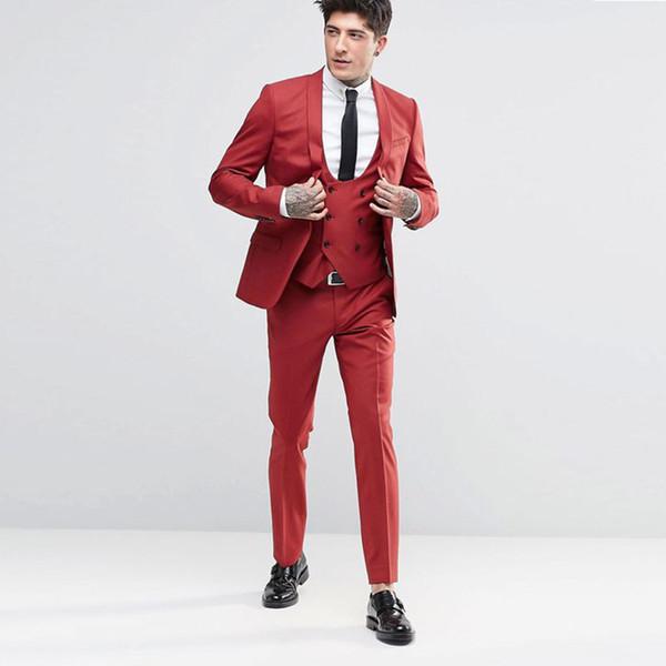 Handsome Groomsmen Shawl Lapel Groom Tuxedos Mens Wedding Dress Man Jacket Blazer Prom Dinner 3 Piece Suit(Jacket+Pants+Tie+Vest) B24