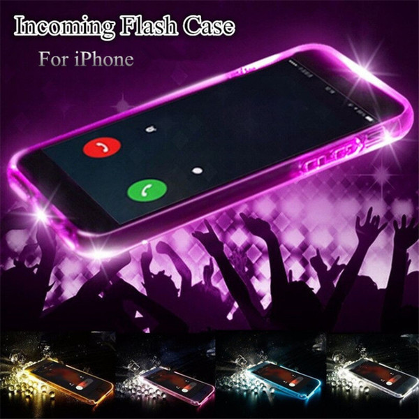 LED Flash Incoming Phone Case Remind Call Light Up Cover Ultra Thin TPU Glitter Flash Transparent Case Shockproof For iPhone 6 6S 7 8 Plus X