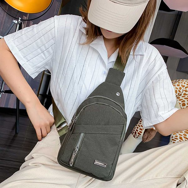 Unisex Women's Bags Canvas Chest USB Headset Earphone Socket Bag Waterproof Cross body Bag Pocket Messenger bolso mujer