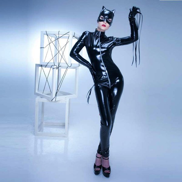 Halloween Catwomen Cosplay Pano Designer Womens PU Filme Tema Costume Cosplay Sexy magro Halloween