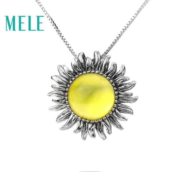 MELE Jaune Naturel Préhnite Pendentif, 12mm ronde pour la taille de pierre, profonde couleur jaune, fleur Design, mode Jewlerys