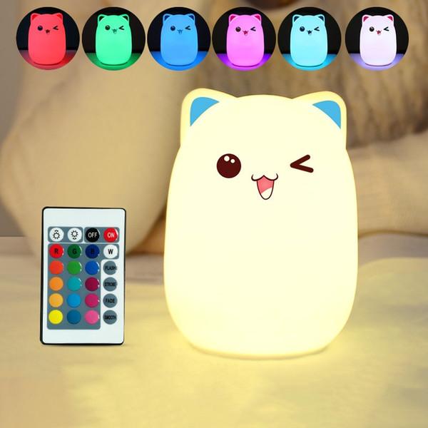 7 Farben Katze Soft Silikon LED Touch Sensor Licht Nette Nachtlicht Kinder