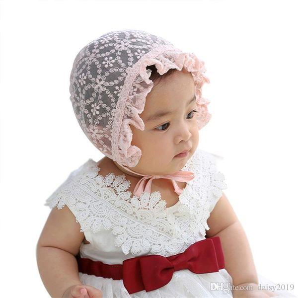 Süße Spitze Baby Mädchen Hut Neugeborenen Fotografia weiß rosa Sommer Kleinkinder Motorhaube Baby Mütze Zubehör für Neugeborene bis 12 Monate