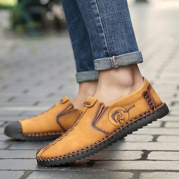 LettBao Erkekler Elbise Ayakkabı 2018 Erkek Bölünmüş Deri Oxford Ayakkabı Zapatillas Erkekler Flats Artı Boyutu 48 Elbise Deri