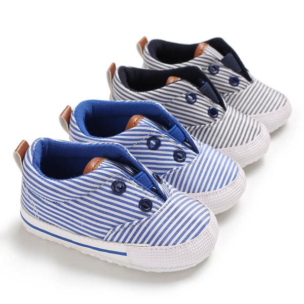 Nouveau bébé chaussures à rayures bébé garçon chaussures enfant chaussures Mocassins Soft Baby First Walker Shoe chaussure nouveau-né occasionnel Infant Chaussures A4376