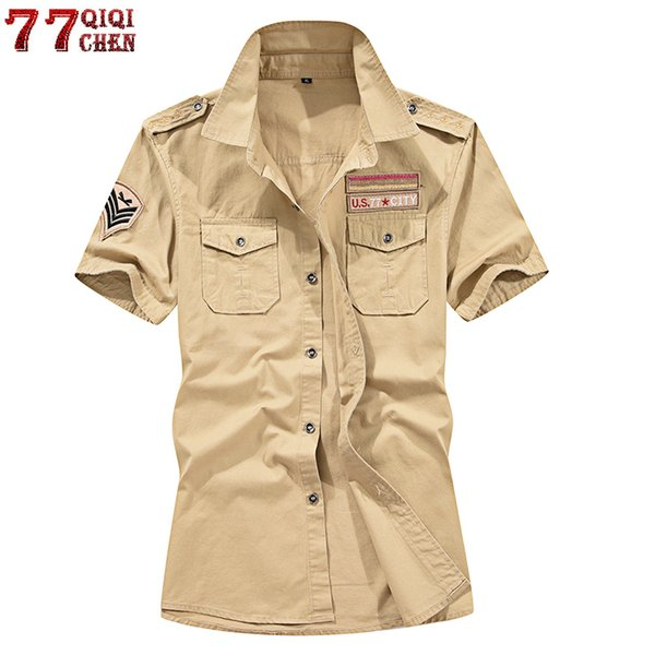 Brand New 100% Cotton Military Cargo Short Sleeve Plus Size 4xl 5xl Summer Army Tactical Men Shirt Chemise Homme C19041701