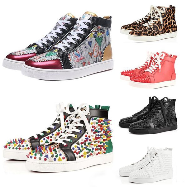 Christian Louboutin ACE Designer Brand Red Bottom Studded Spikes Flats Shoes Men Women Fashion High Cut Multicolor Party Lovers Casual Shoes