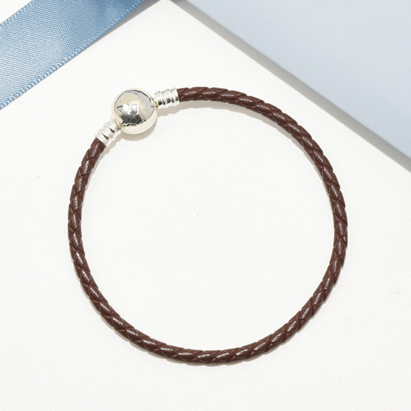 Brown Leather Hand Chain Ball Clips Bracelet Logo Original box for Pandora 925 Sterling Silver Charms Women Mens Bracelet with Retail box