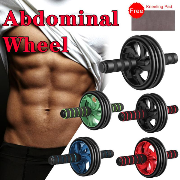 top popular New Keep Fit Double Wheels No Noise Abdominal Wheel Ab Rollers With Mat For Arm Waist Leg Exercise Gym Fitness Equipment 2021
