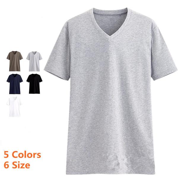 T-shirt à manches courtes en coton col V pour hommes de grande qualité Render non doublé vêtement supérieur de loisirs