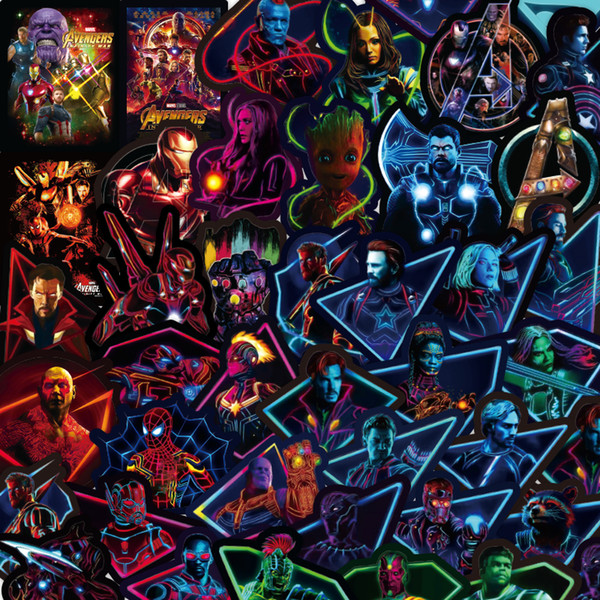 49 Unids / set Marvel Pegatinas Fluorescentes Vengadores 4 Capitán América Iron Man Libro Equipaje Portátil Refrigerador Etiqueta Engomada Luminosa C6748