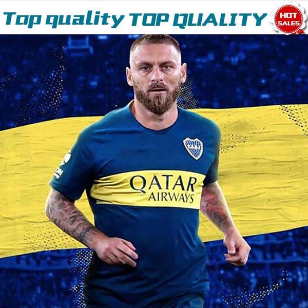 2020 Boca Juniors Home Bleu # 16 DE ROSSI maillots de football 19/20 à l'extérieur jaune # 10 TEVEZ # 17 ABILA Maillots de football pour adultes Uniformes de football Ventes