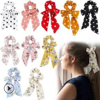 100pcs/lot DIY Simple Multi Ribbon Headbands Big Bowknot Dots Large Intestine Style Hair Band Styling Tools Accessories HA631