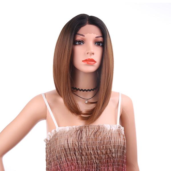 Full Lace medium Human Hair Wigs Ombre dark brown Straight Brazilian Virgin Hair 150 Density Natural Hairline Glueless Bleached Knots