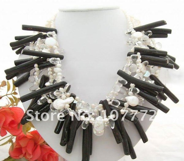 Women's 6 strands White Pearl&Crystal&Coral Branch Necklace